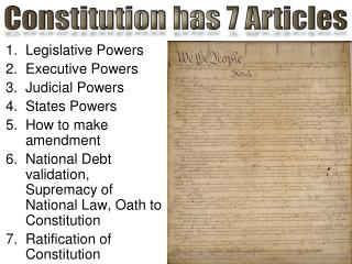 Legislative  Powers Executive  Powers Judicial  Powers States  Powers How  to make amendment