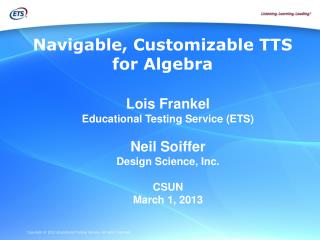 Navigable, Customizable TTS for Algebra