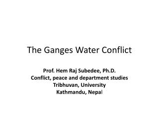 The Ganges Water Conflict