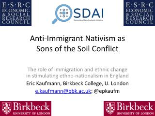 Anti-Immigrant  Nativism  as  Sons of the Soil Conflict