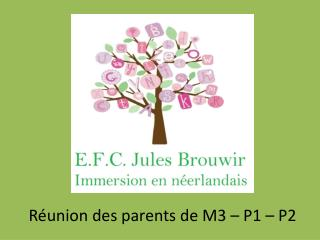 Réunion des parents de M3 – P1 – P2