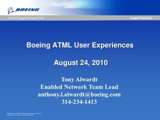 Boeing ATML User Experiences
