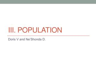 III. POPULATION