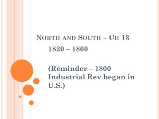 North and South – Ch 13
