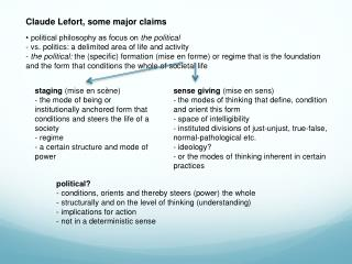 Claude  Lefort , some major claims • political philosophy as focus on  the political