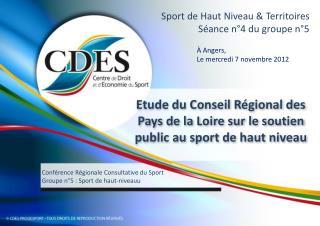 Sport de Haut Niveau & Territoires Séance n°4 du groupe n°5