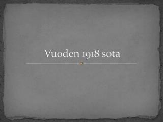 Vuoden 1918 sota