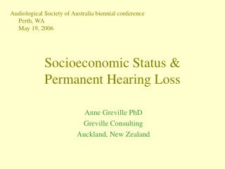Socioeconomic Status  Permanent Hearing Loss