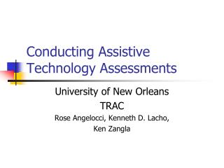 Conducting Assistive Technology Assessments