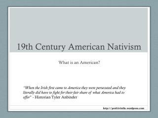19th Century American Nativism