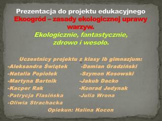 Uczestnicy projektu z klasy  Ib  gimnazjum: -Aleksandra Świątek       -Damian  Gradziński