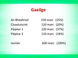 Gaeilge An Bhéaltriail                 150 marc   (25%)