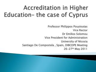 Accreditation in Higher Education– the case of Cyprus