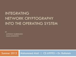 Mohammed Alali     CS 69995 – Dr. Rothstein