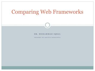 Comparing Web Frameworks
