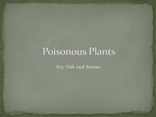 Poisonous Plants