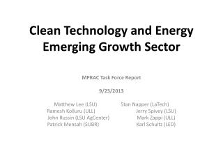Clean Technology and Energy Emerging Growth Sector