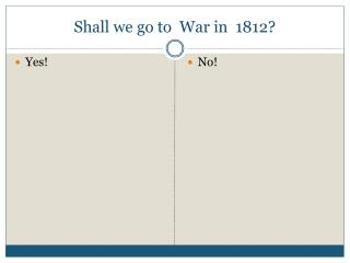 Shall we go to  War in  1812?