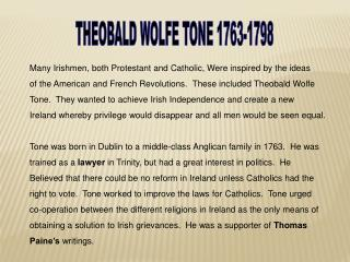 THEOBALD  WOLFE TONE 1763-1798