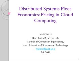 Distributed Systems Meet Economics: Pricing in Cloud Computing