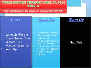 World History  Thursday  April  10,  2014 Week 11
