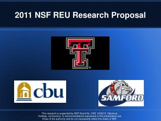 2011 NSF REU Research Proposal