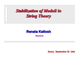 Stabilization of Moduli in  String Theory