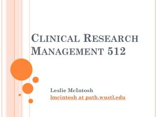 Clinical  Research Management 512