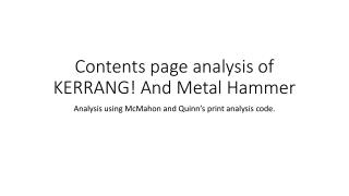 Contents page analysis of KERRANG! And Metal Hammer