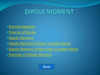 DIPOLE MOMENT