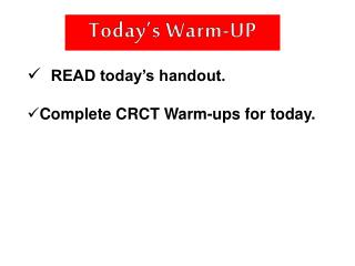 Today�s Warm-UP