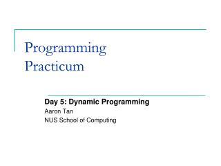 Programming  Practicum