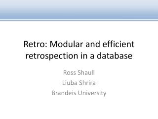 Retro: Modular and  efficient  retrospection in a database