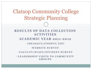 Clatsop Community College Strategic Planning