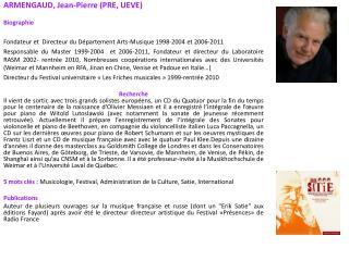 ARMENGAUD, Jean-Pierre (PRE, UEVE) Biographie