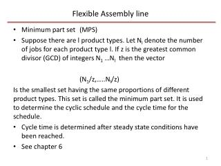 Flexible Assembly line