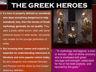 The Greek Heroes