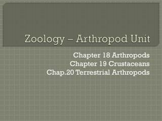 Zoology � Arthropod Unit
