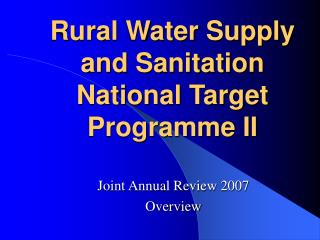 Rural Water Supply and Sanitation National Target Programme II