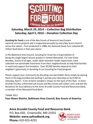Anne Arundel County Food and Resources Bank P.O. Box 650,  Crownsville, MD 21032