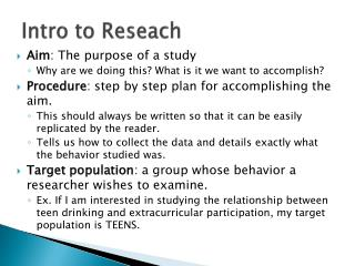 Intro to  Reseach