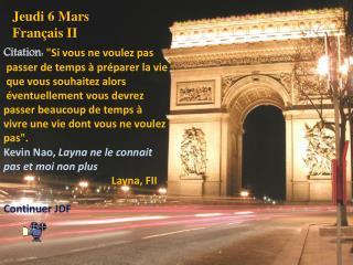 Jeudi 6 Mars Français  II