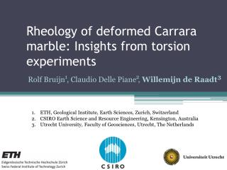 Rheology of deformed Carrara marble: Insights from torsion experiments
