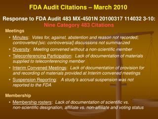 Response to FDA Audit 483 MX-4501N 20100317 114032 3-10 :  Nine Category 483 Citations Meetings