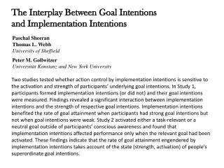 The Interplay Between Goal Intentions and Implementation Intentions