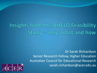 Insights from the AHELO Feasibility Study – why, what and how