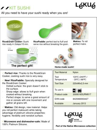 Perfect  rice:  Thanks to the Rice&Grain Cooker ,  cooking  sushi rice  is very easy .