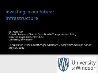 Investing in our future: Infrastructure