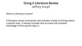 Doing A Literature Review  Jeffrey Knopf