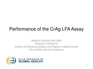 Performance of the  CrAg  LFA Assay